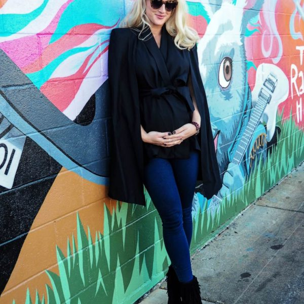 Maternity Style with Lyon and Post Black Cape Jeans and Fringe