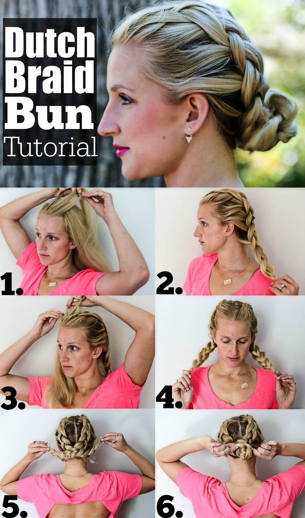 dutch braid bun hair tutorial