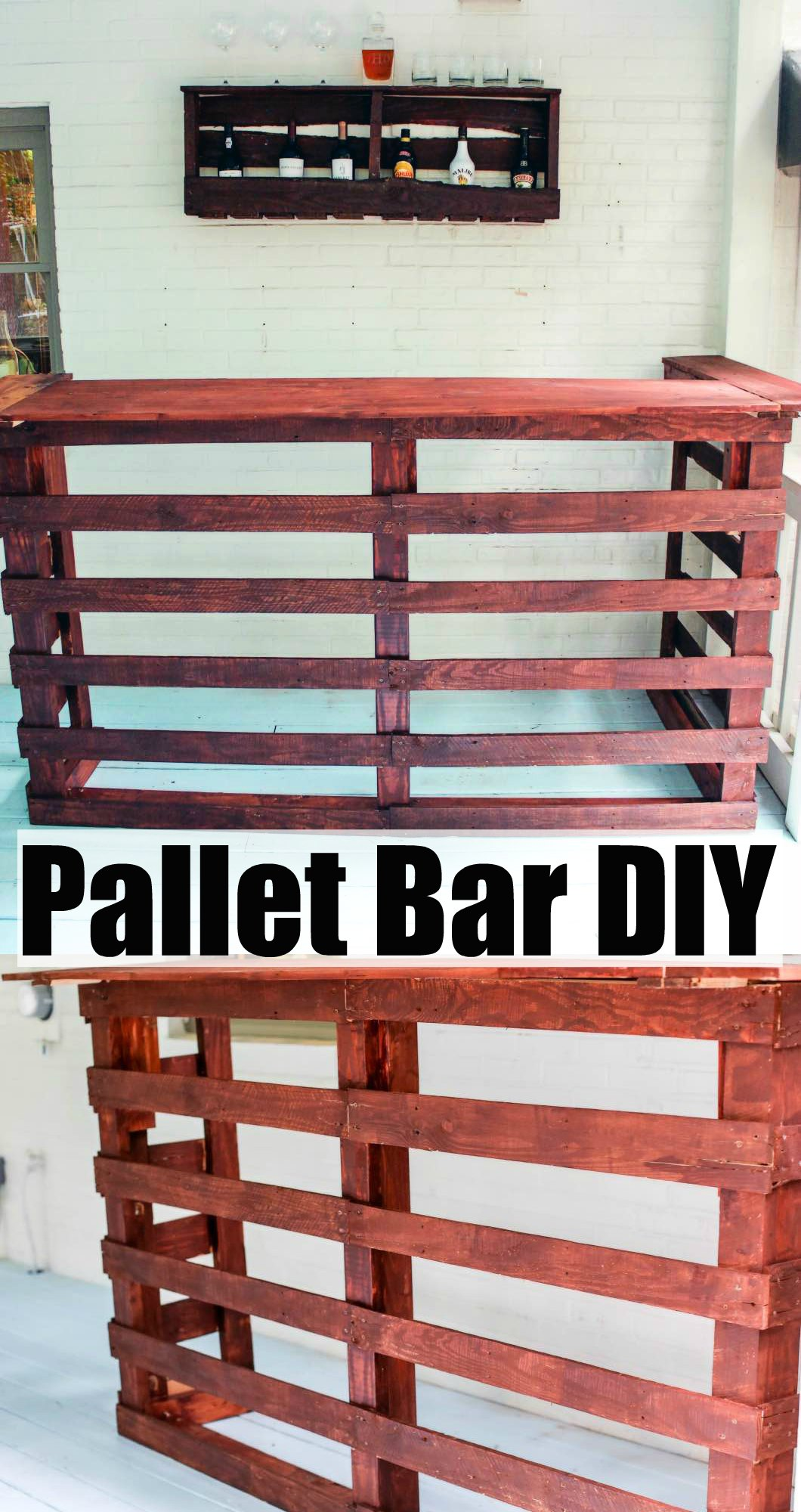 pallet bar diy happily hughes. Black Bedroom Furniture Sets. Home Design Ideas