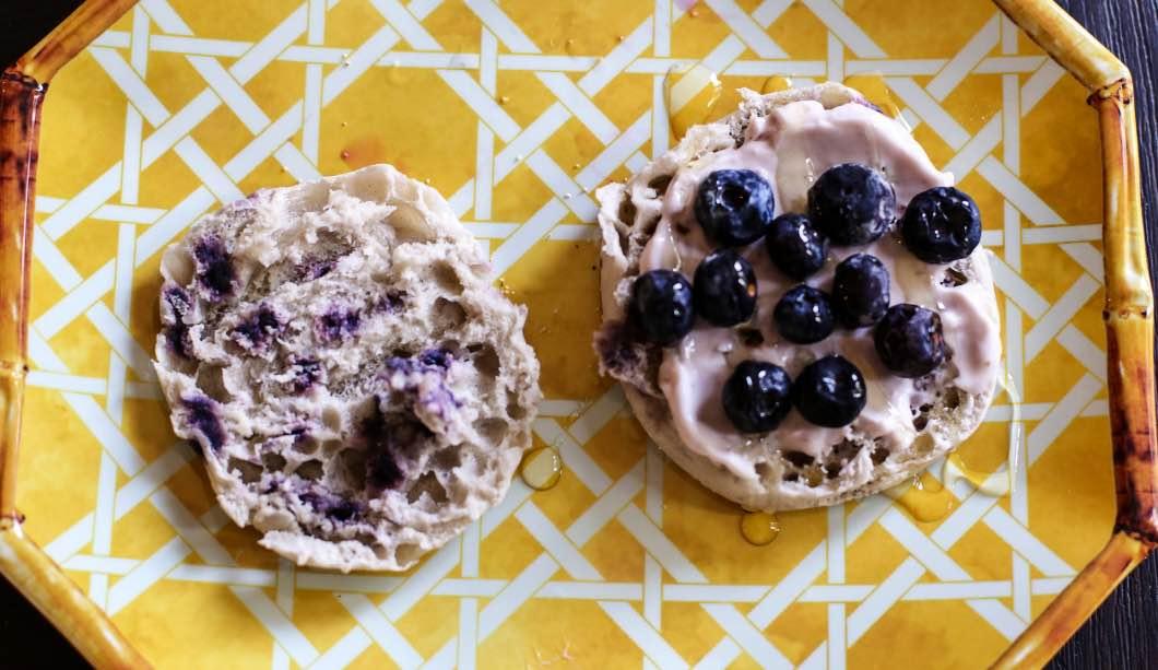 Blueberry Protein Breakfast English Muffins