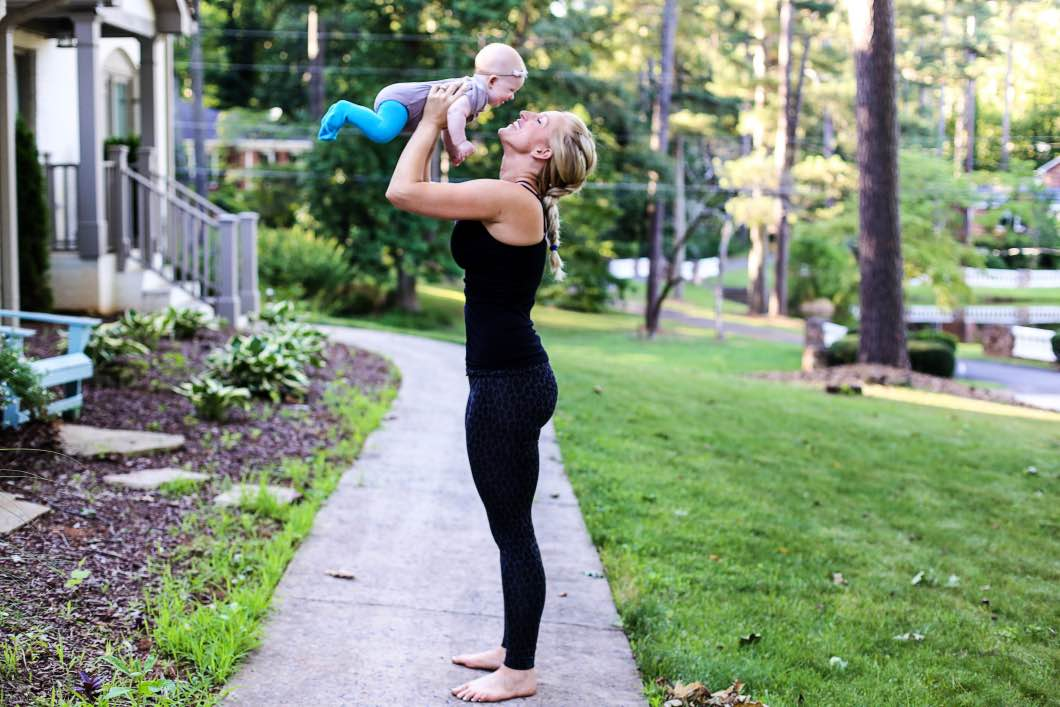 Leg Postpartum Workout with Baby (Boob Design) by Atlanta fitness blogger Happily Hughes