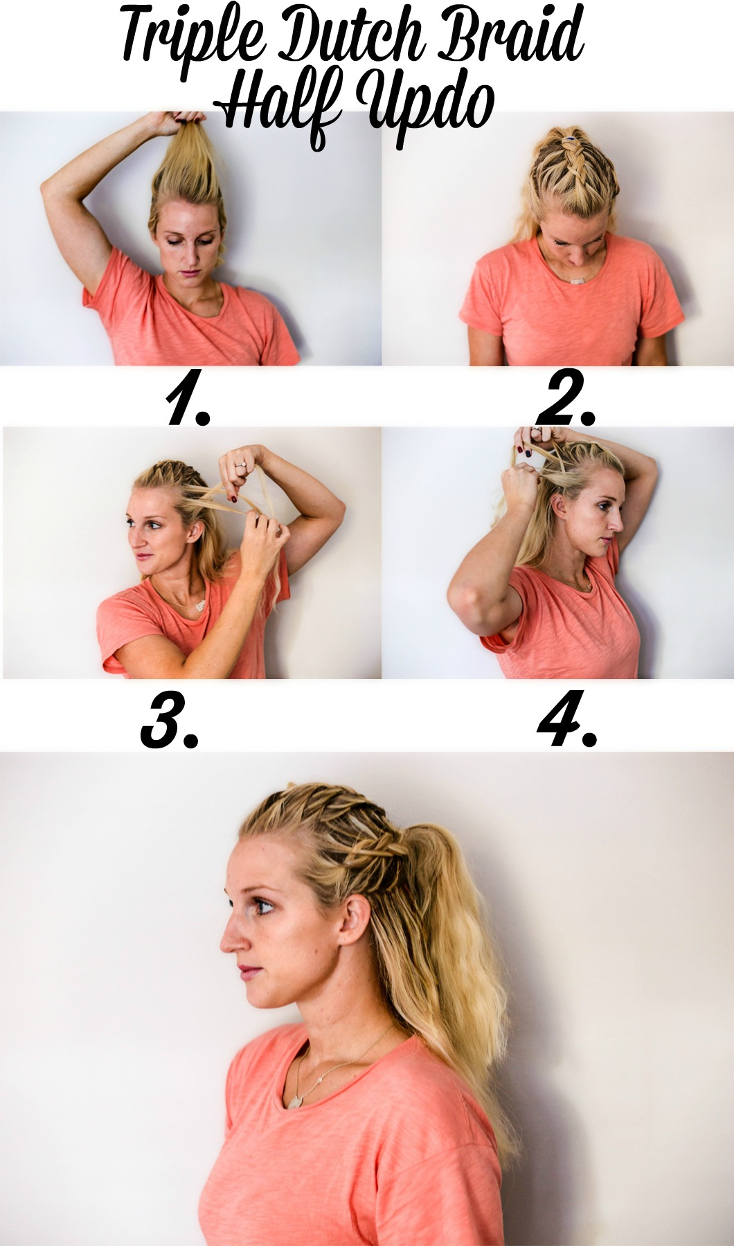 Triple Dutch Braid Half Updo