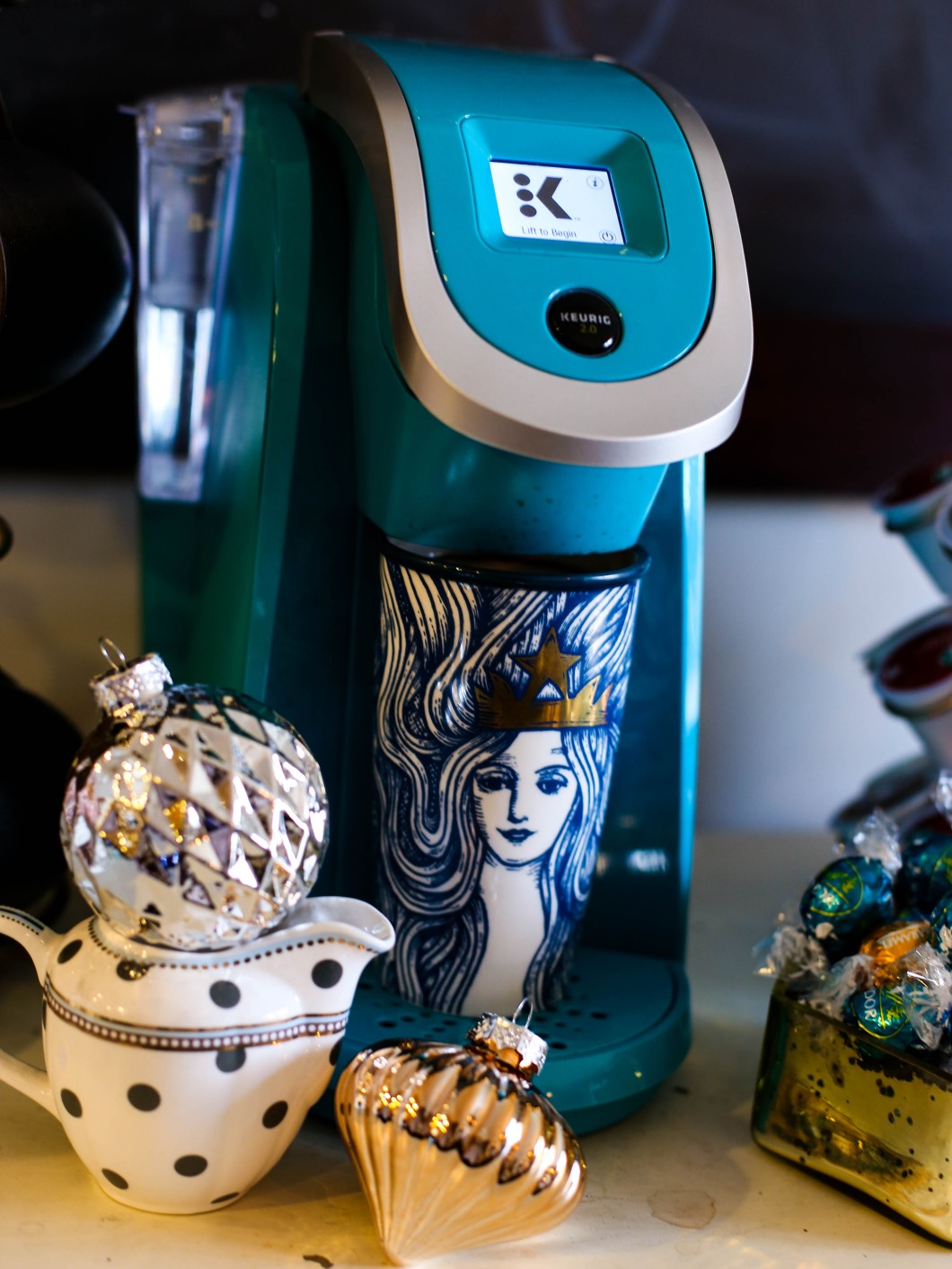 Keurig Christmas Coffee Bar - Starbucks Christmas Coffee Bar by Atlanta style blogger Happily Hughes