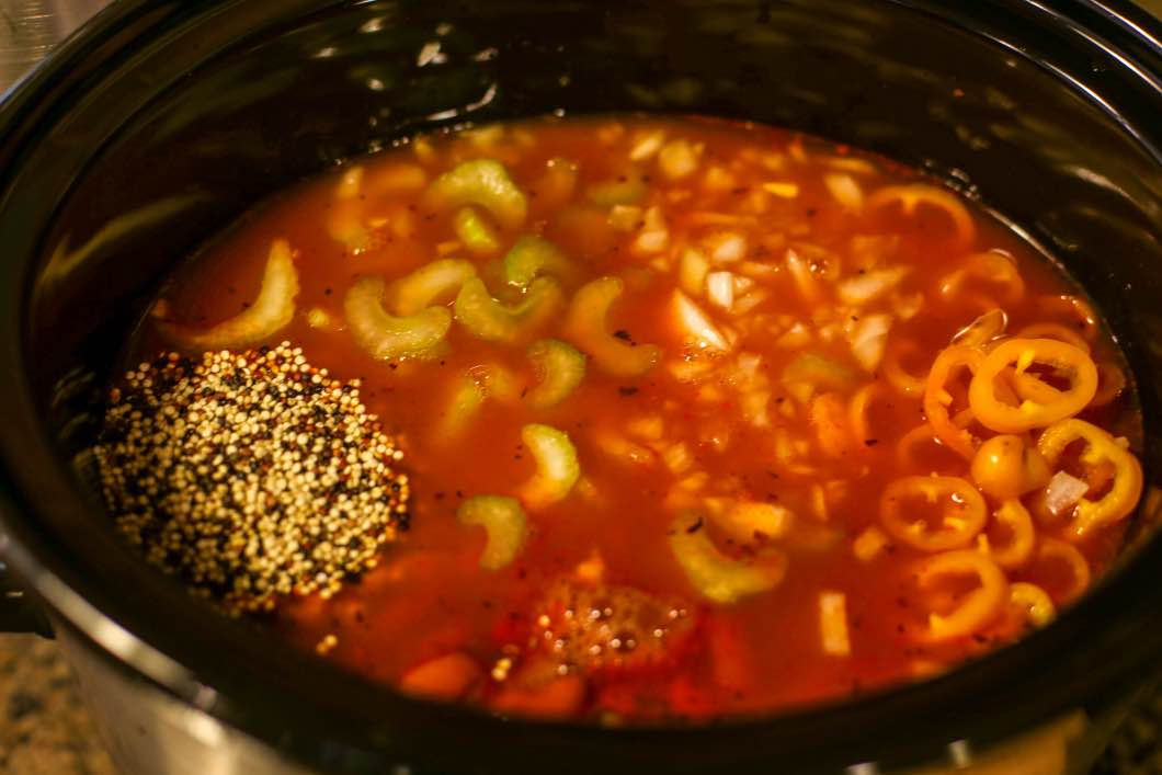 Slow Cooker Minestrone Soup with Quinoa