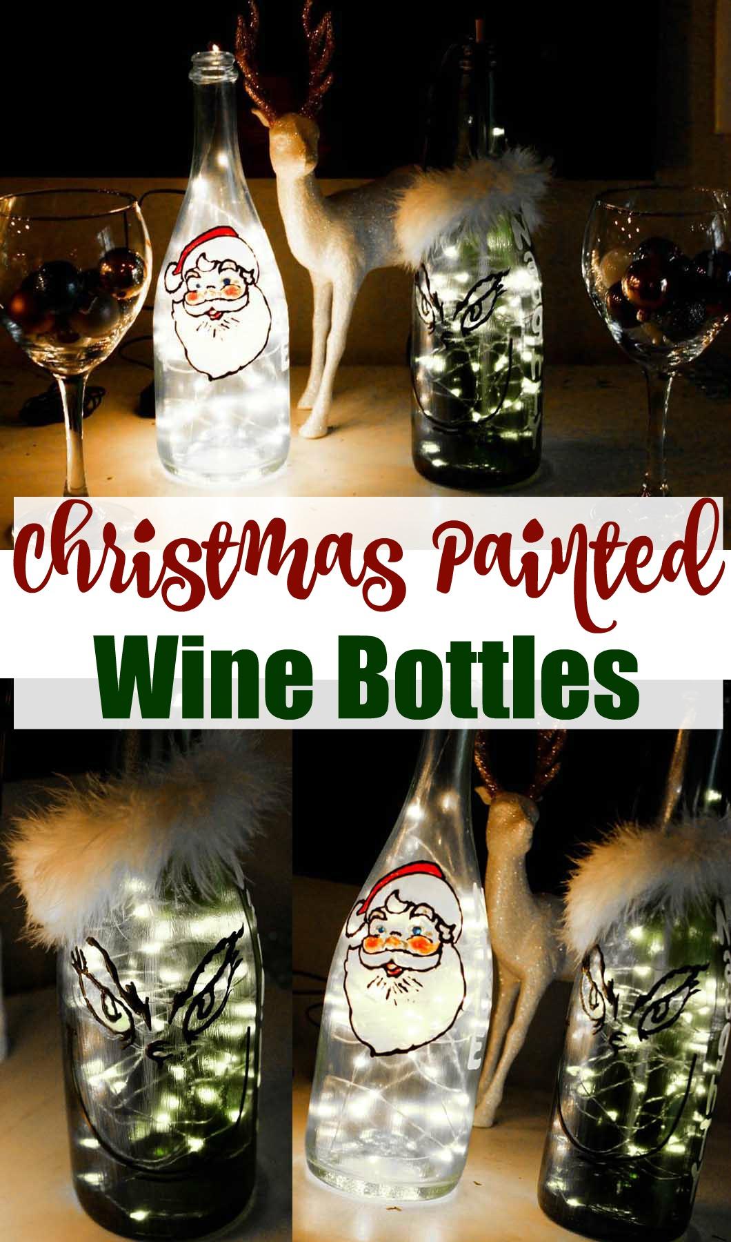 Christmas Painted Wine Bottles