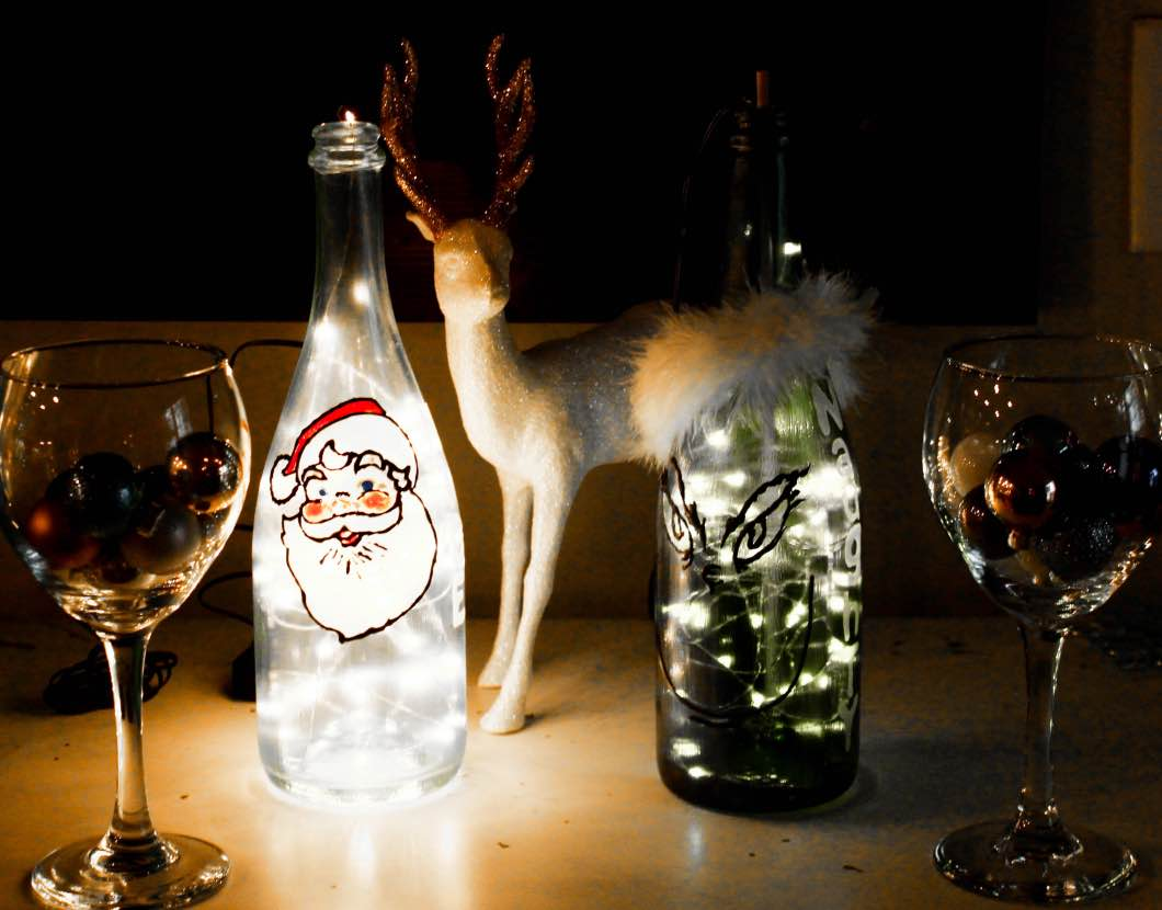 Christmas Painted Wine Bottles Diy Happily Hughes