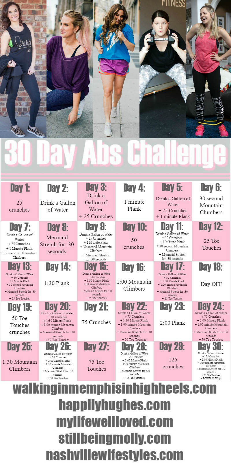 30 Day Ab Challenge Workout with CVS by fitness blogger Jessica of Happily Hughes