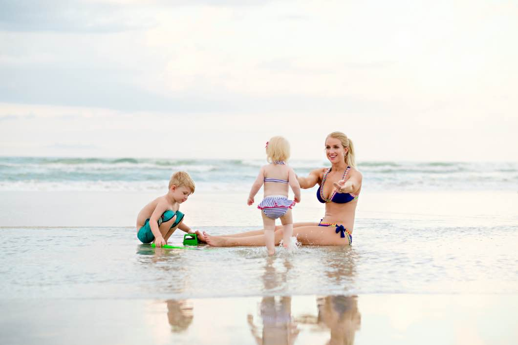 mother and children daytona beach - Daytona Beach Family Vacation by Atlanta mom blogger Happily Hughes
