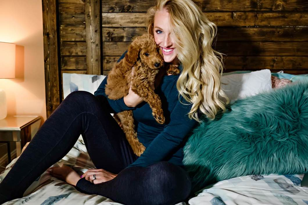 model and golden doodle smartwool - Best Warm Clothes For Cold Weather by Atlanta fashion blogger Happily Hughes