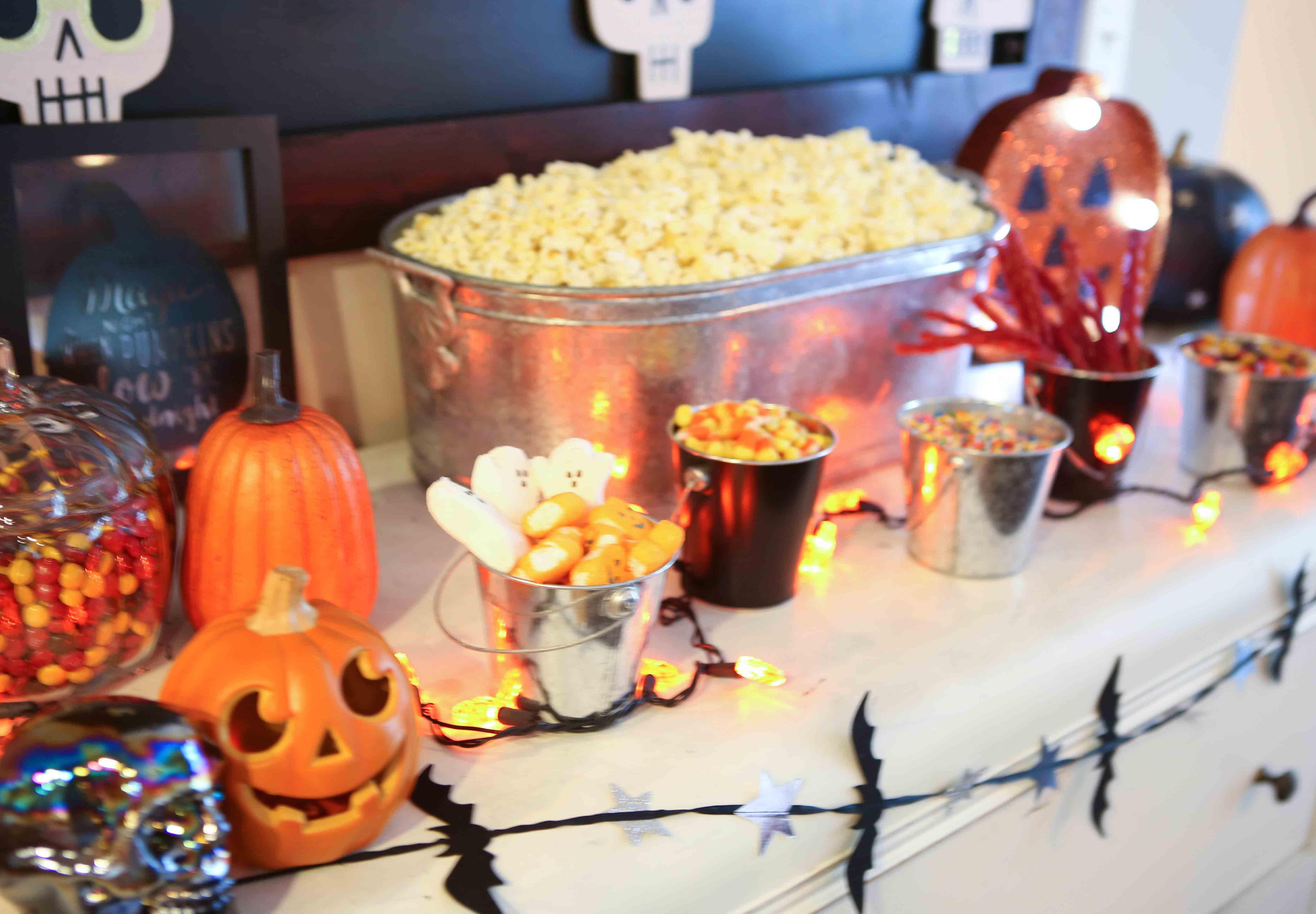 Halloween Popcorn Bar by Atlanta lifestyle blogger Happily Hughes