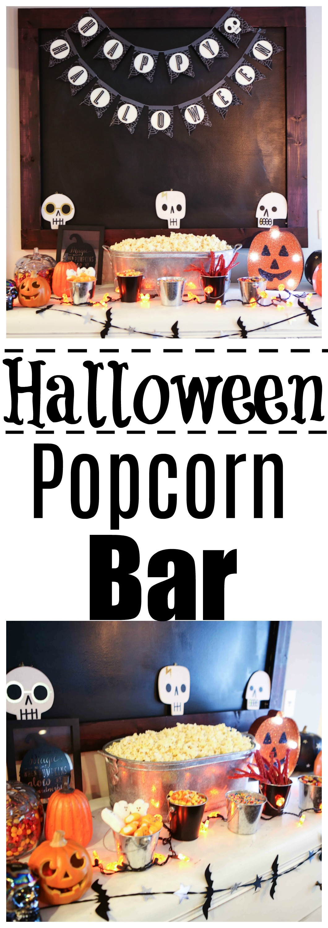 halloweenpopcornbar - Halloween Popcorn Bar by Atlanta lifestyle blogger Happily Hughes